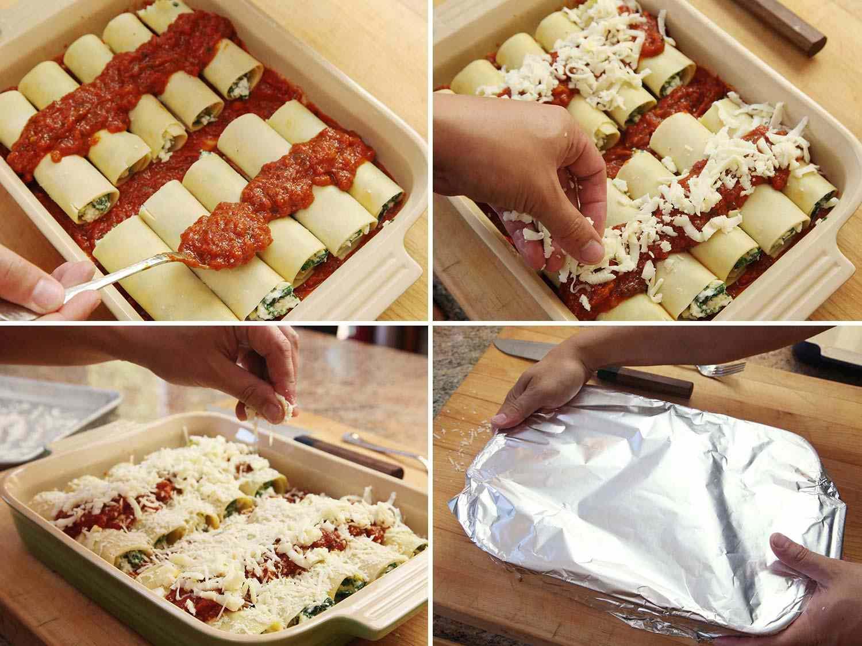Preparing manicotti to bake