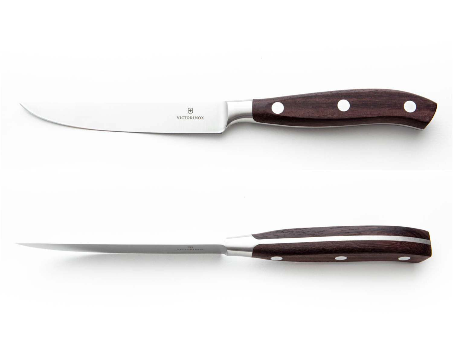 Side and overhead view of the Victorinox Grand Maître steak knife.