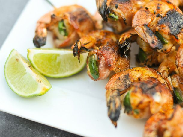Close-up of bacon-wrapped jalapeno and cheese-stuffed shrimp