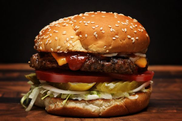 A homemade version of a Burger King Whopper.