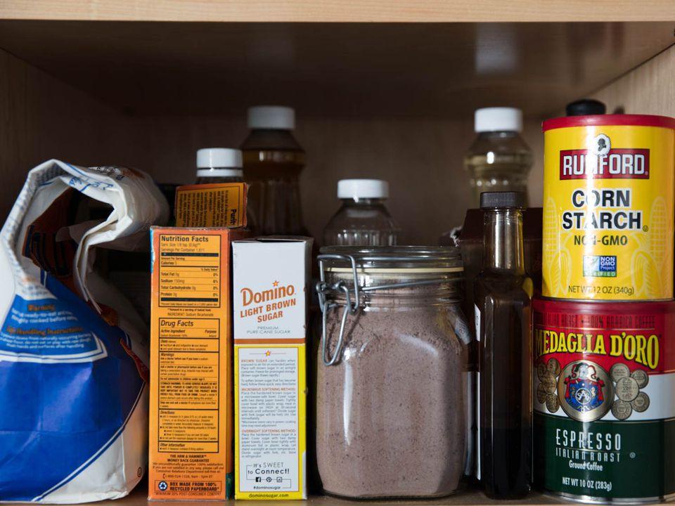 homemade brownie mix on the pantry shelf