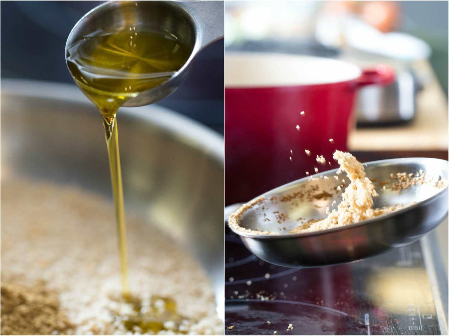 A side by side collage of two photos, drizzling olive oil over breadcrumbs and then tossing toasted breadcrumbs in a skillet.