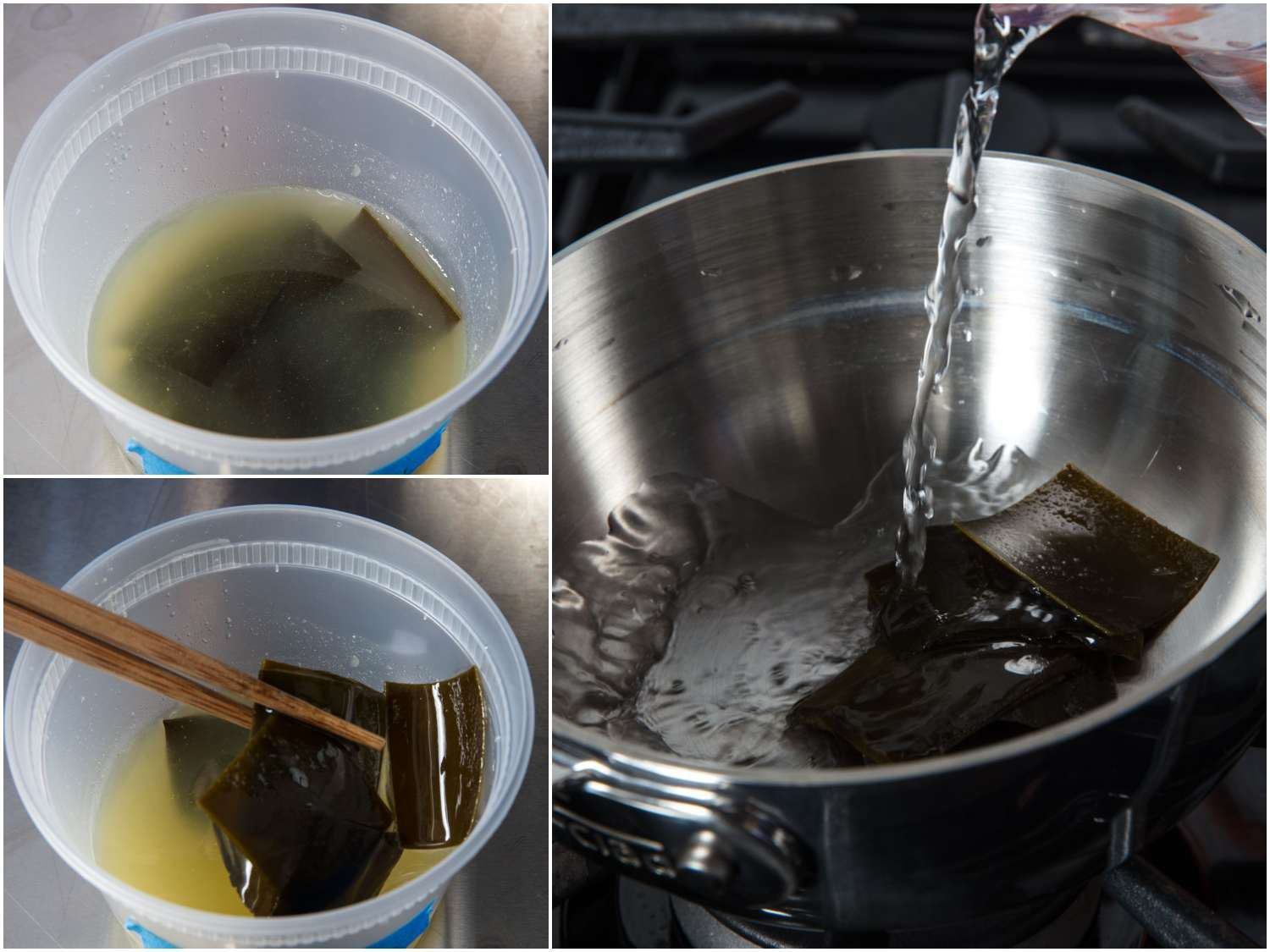 Collage of kombu being removed from shio tare and placed in pot with water