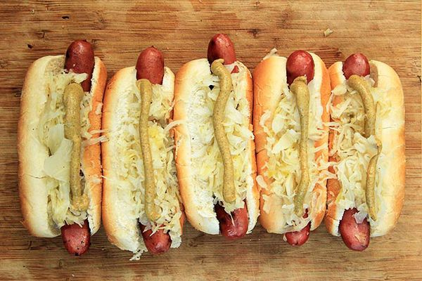 Grilled Hot Dogs with Sauerkraut