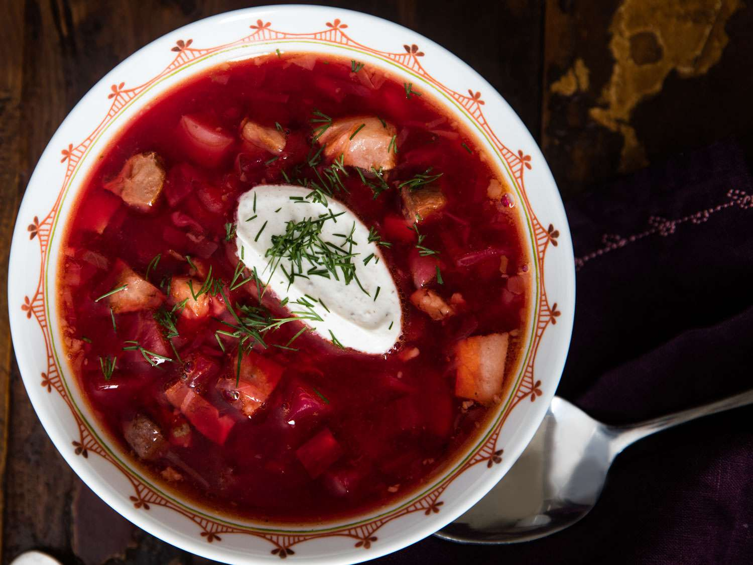 A bowl of Hot Ukrainian Borscht (With Beets, Beef, Pork, and More)