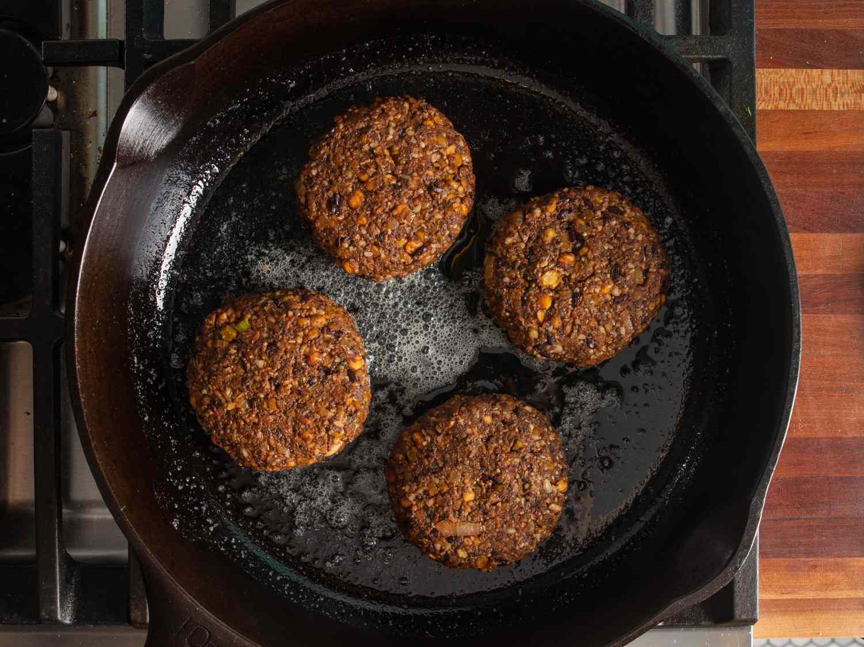 Cooking veggie burgers