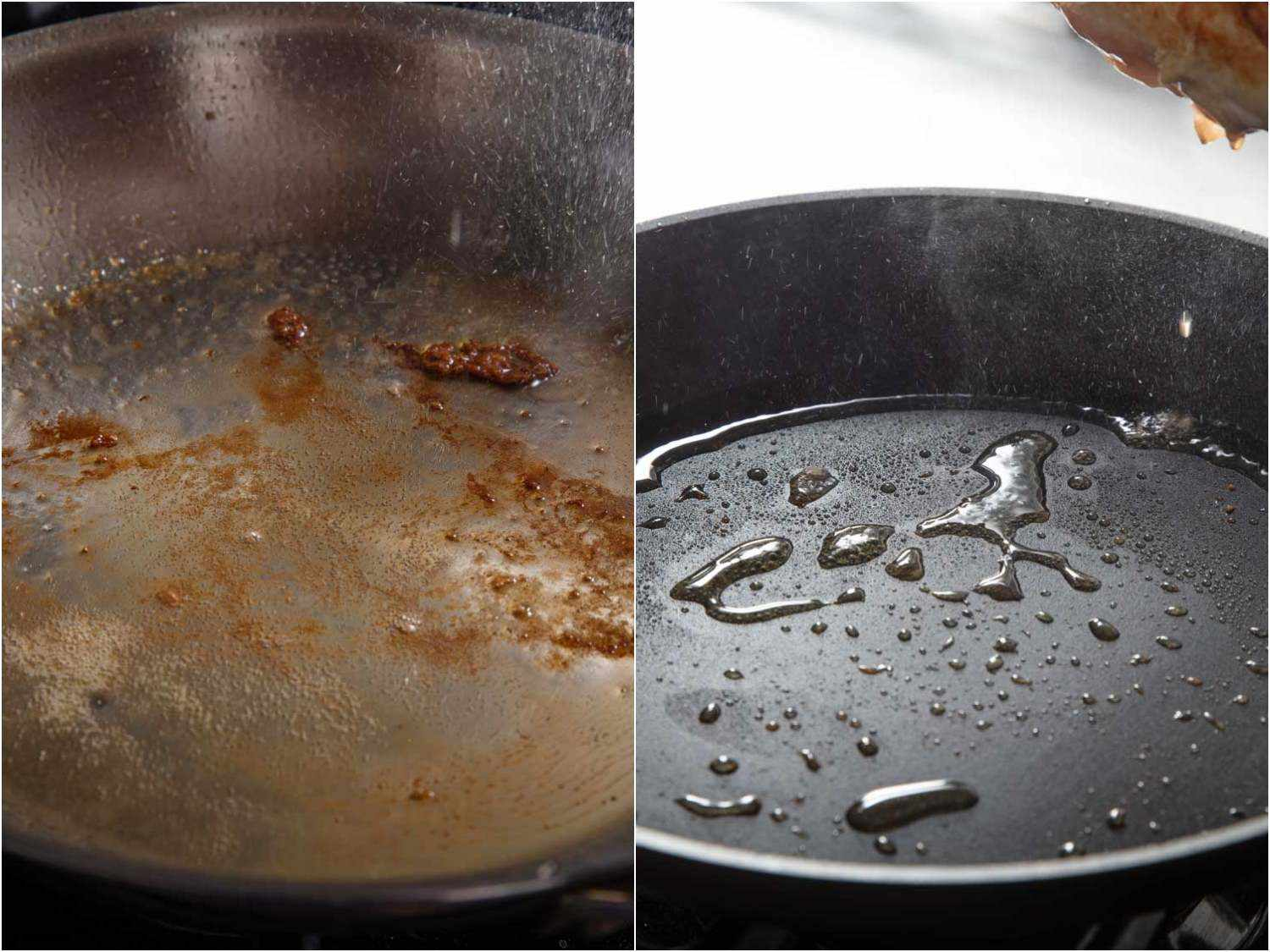A side-by-side image showing the fond (browning) that develops on the bottom of a stainless steel skillet compared to the lack of it in a nonstick one.