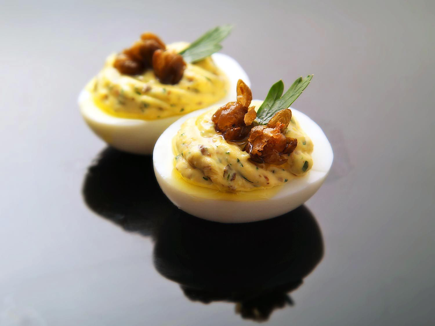 Deviled eggs with fried capers