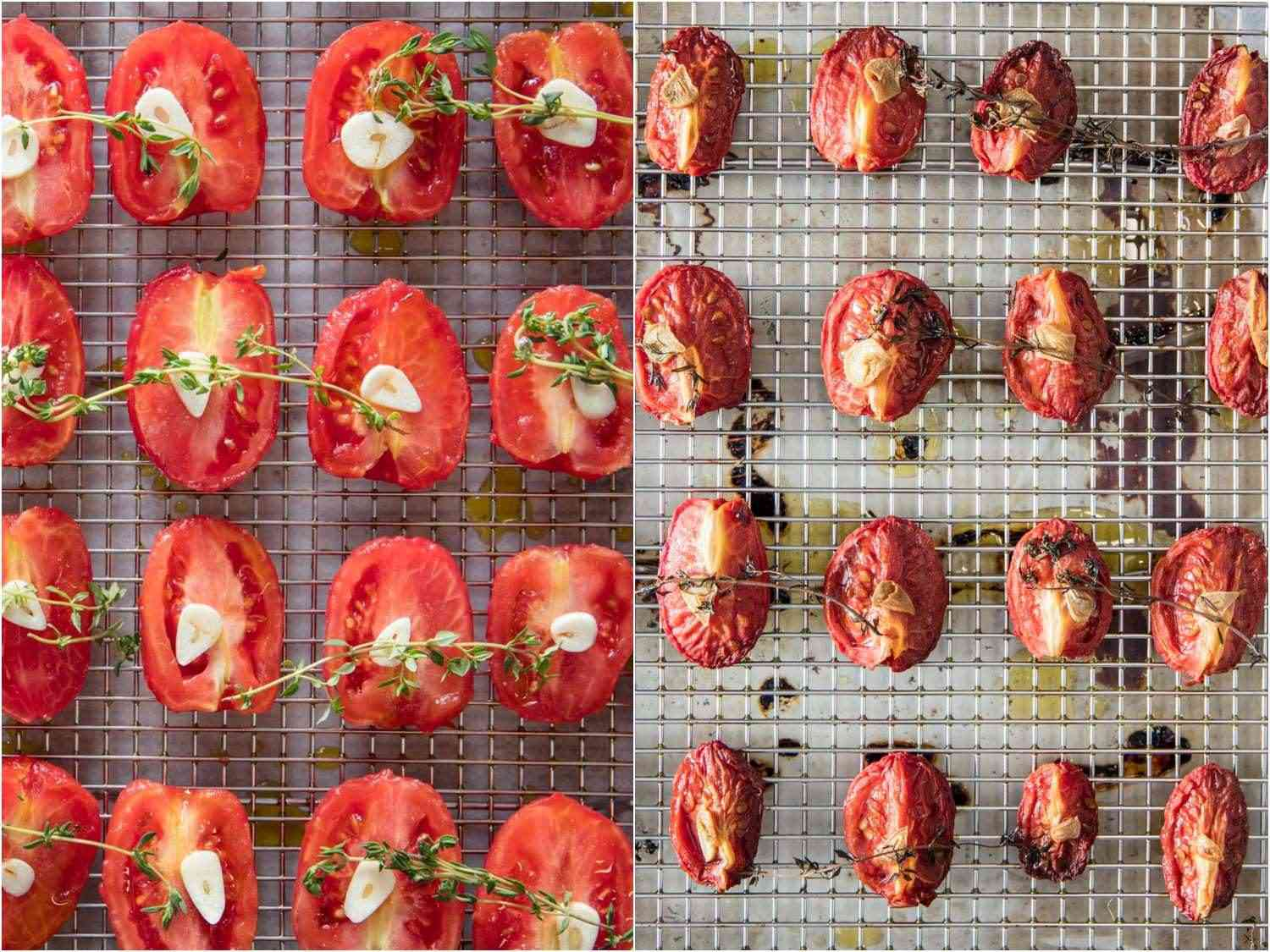 Before and after collage of oven-roasted tomatoes