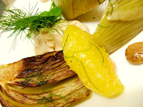 Caramelized Fennel, Marcona Almonds, Navel Orange Confit, Caraway Seeds, and Fennel Puree