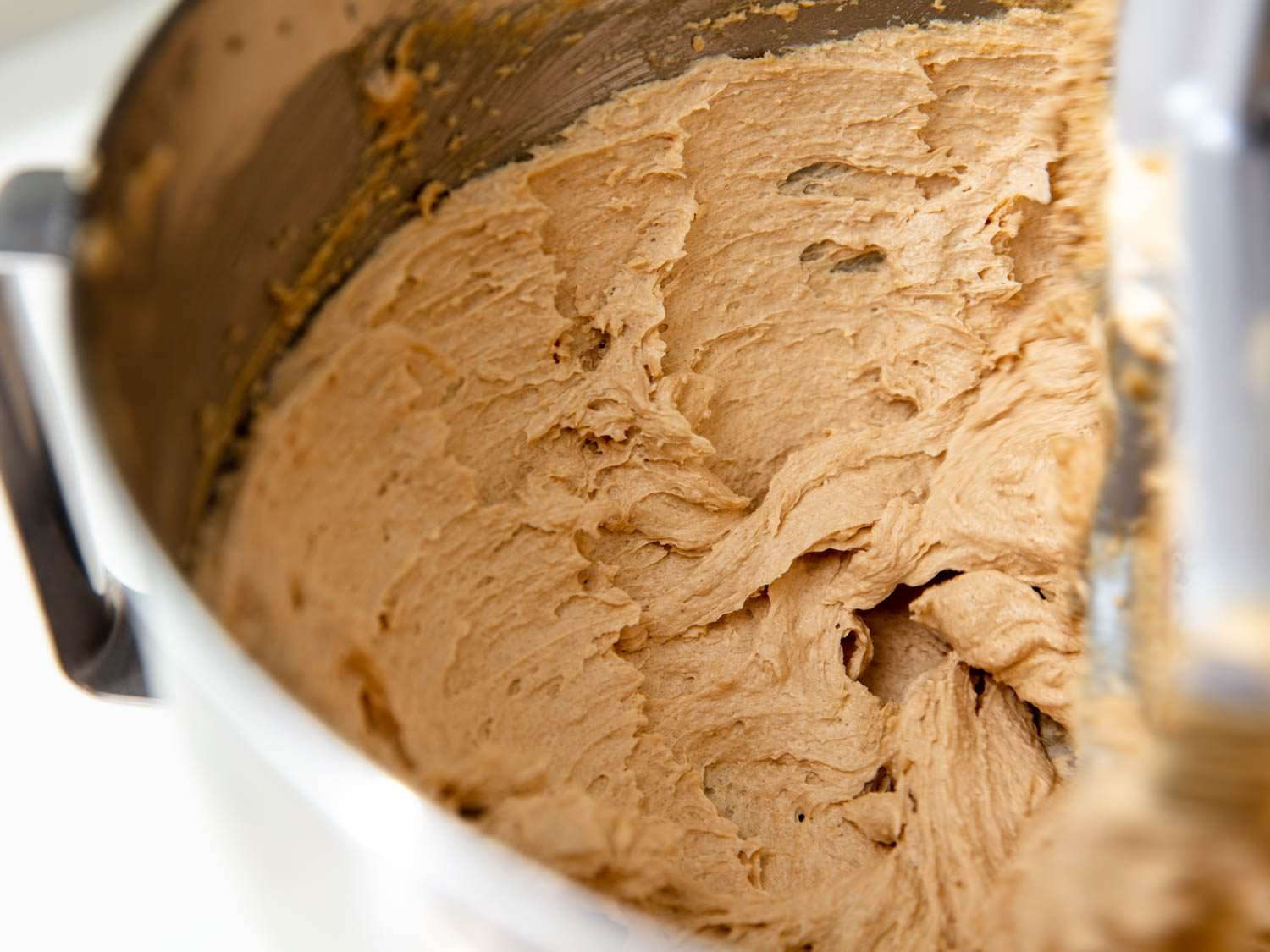 the butter-sugar mixture for lactation cookies after creaming: smooth, light, fluffy, and voluminous