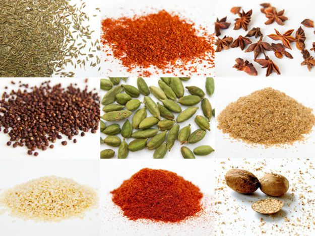 A collage of nine spices commonly used in Indian cooking, including cumin seed, star anise, brown mustard seeds, green cardamom pods, amchoor or mango powder, and whole nutmeg.