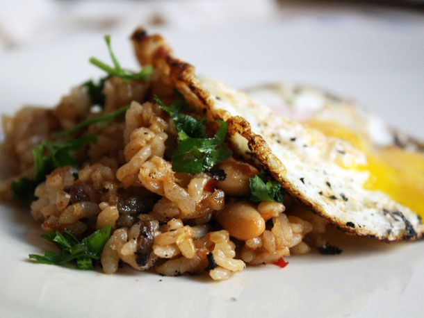 A plate of Malaysian rice with sambal.