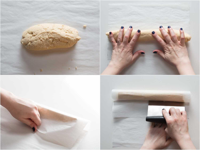 forming the dough into a log