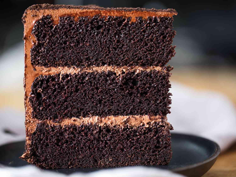 A large slice of deviled food's cake