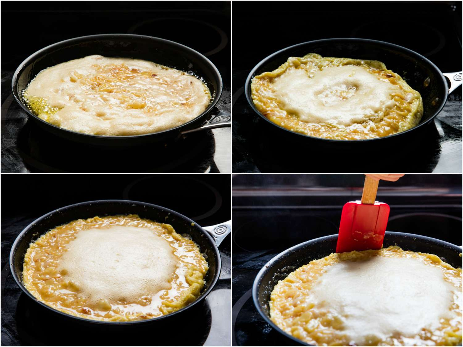A collage of four photos showing how to cook tortilla española in a skillet. The eggs are frothy in the center. The cook uses a spatula to loosen the edges.