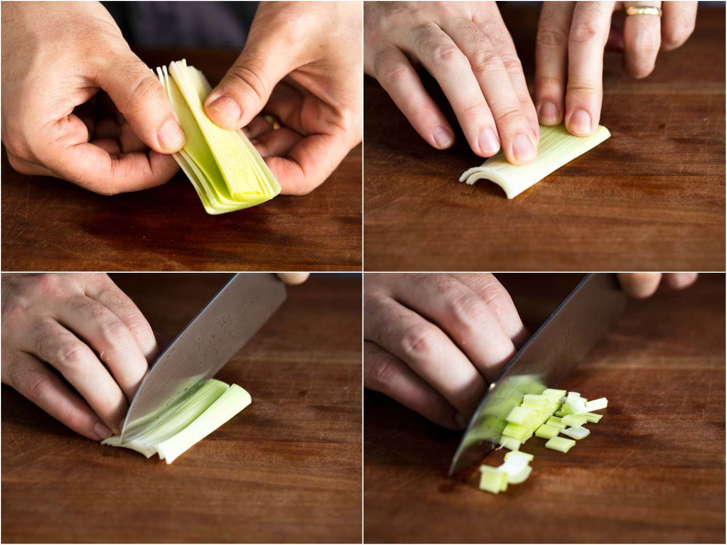 Collage of four photos of leeks being sliced and diced: separating leek layers, stacking them on top of each other, slicing into strips, then cross-cutting into dice