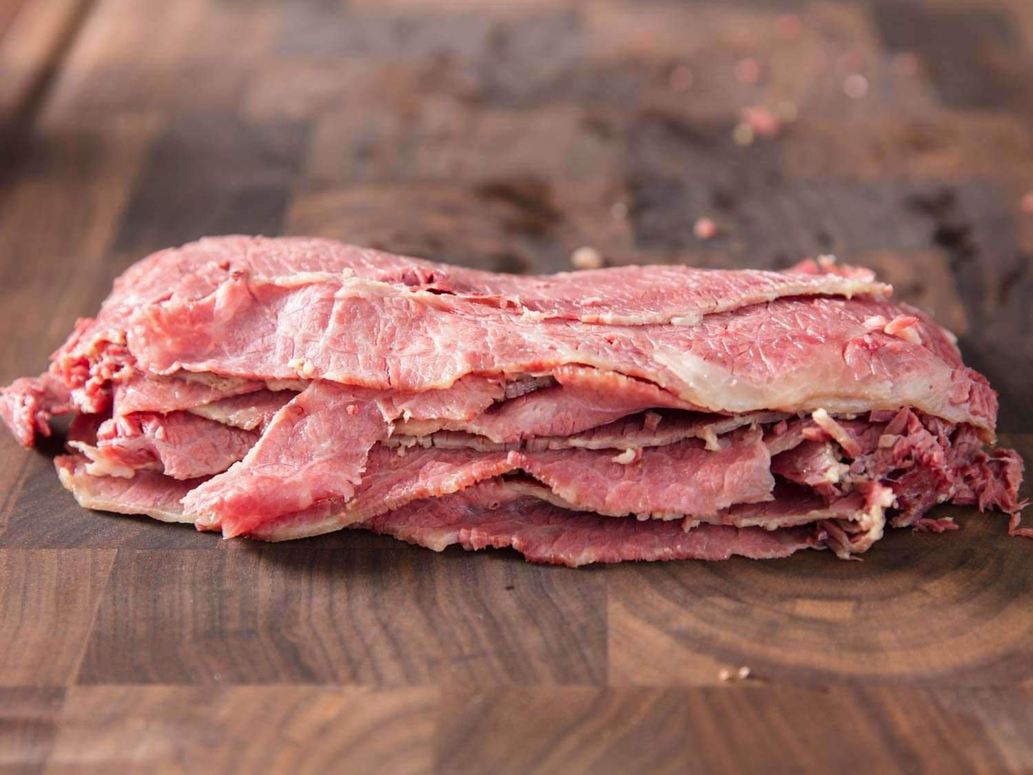 Sliced corned beef from Jewish deli