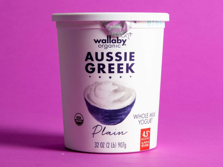 A 32-ounce tub of Wallaby Aussie Whole Milk Plain Greek Yogurt