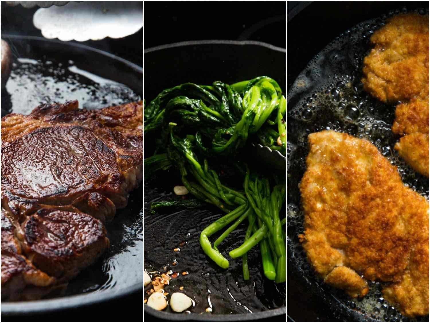 Collage showing three dishes cooking in cast iron skillet.