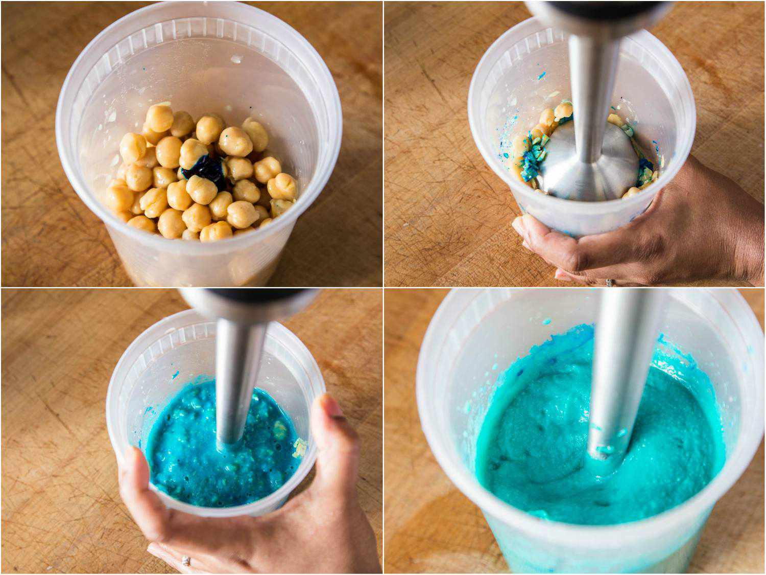 Collage showing different stages of puréeing chickpeas (mixed with blue food coloring) with an immersion blender