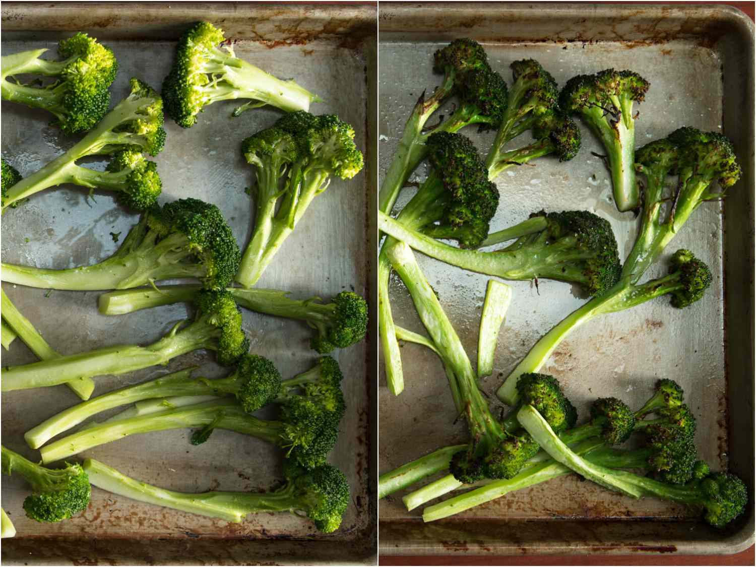 Collage of photos of broccoli florets on a sheet pan, before and after broiling