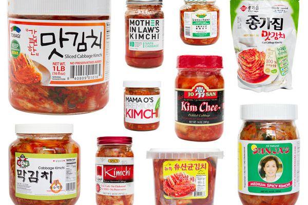 An assortment of storebought kimchi brands for a taste test.