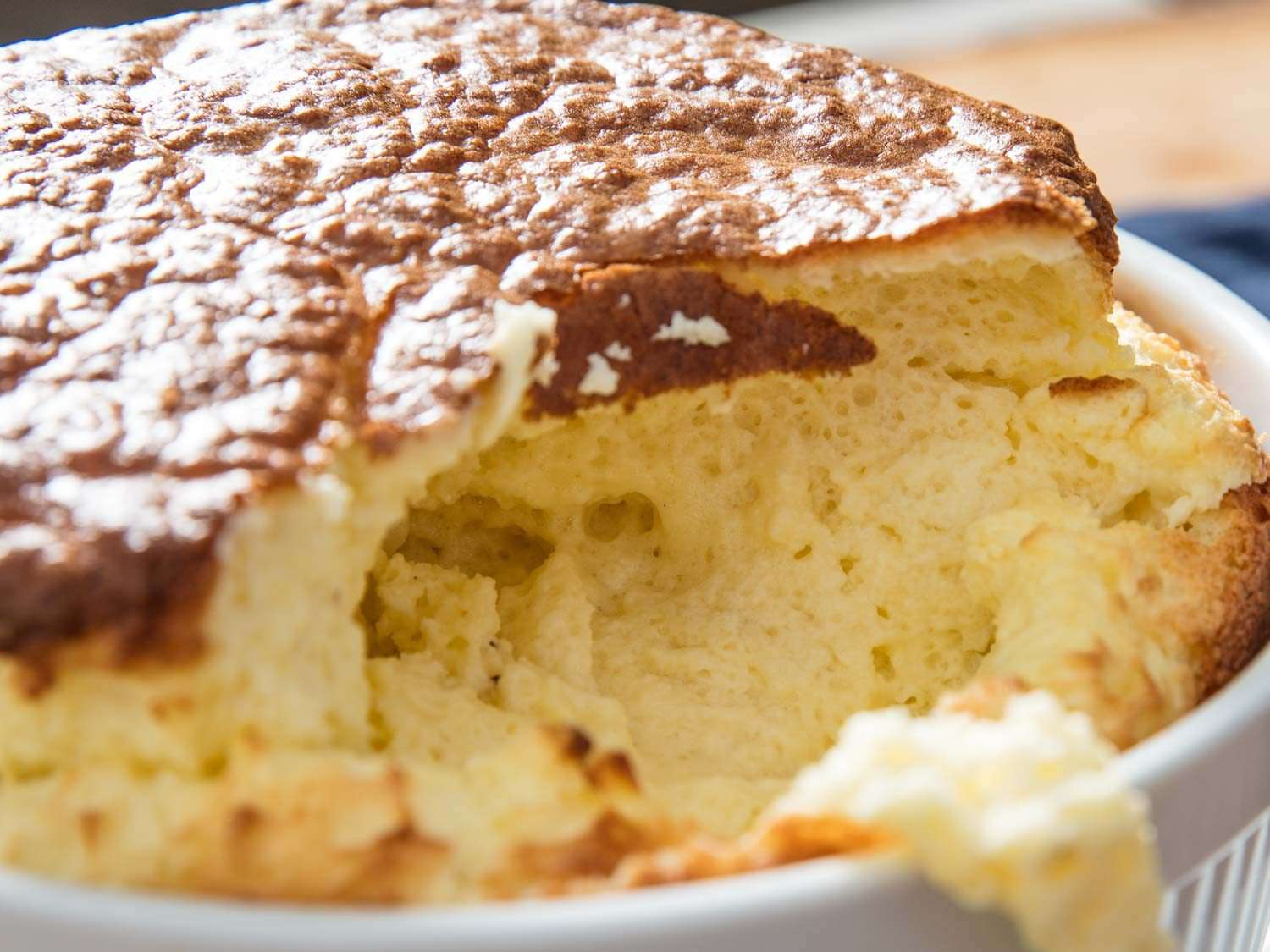 looking inside a cheese soufflé that is fully cooked throughout