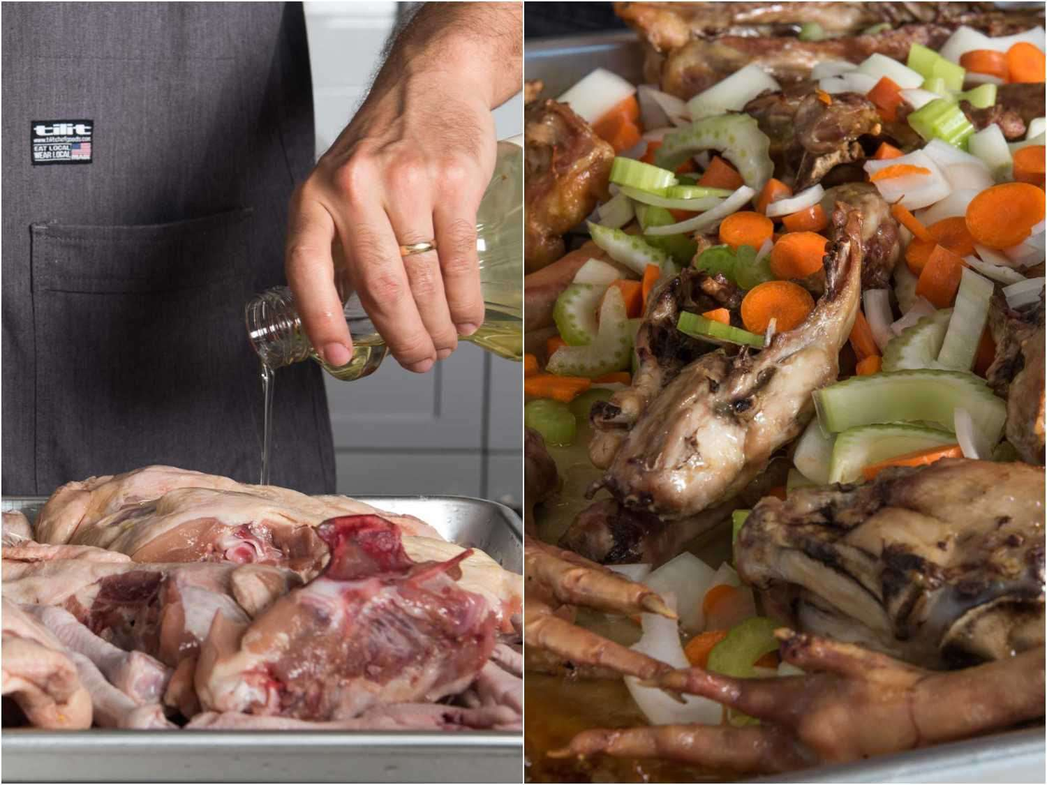 Oiling chicken bones and vegetables for roasting to make brown chicken stock