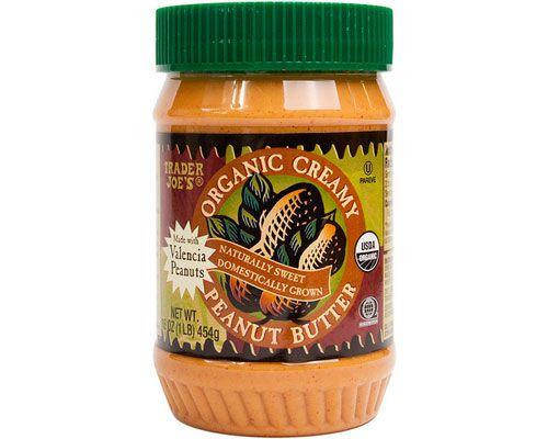 A jar of Trader Joe's organic creamy peanut butter.