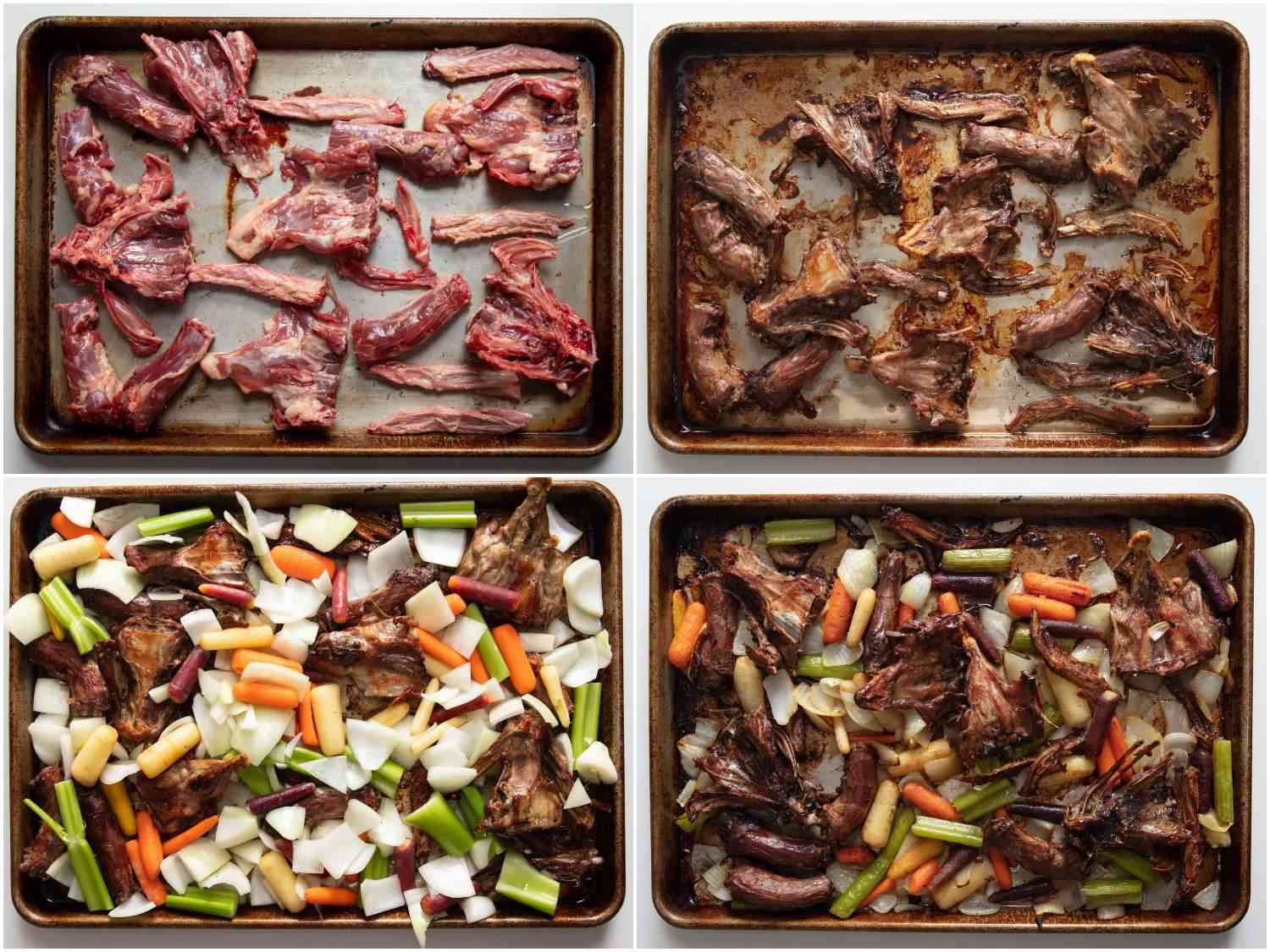 Photo collage of roasting duck bones and vegetables on a rimmed baking sheet for duck stock.