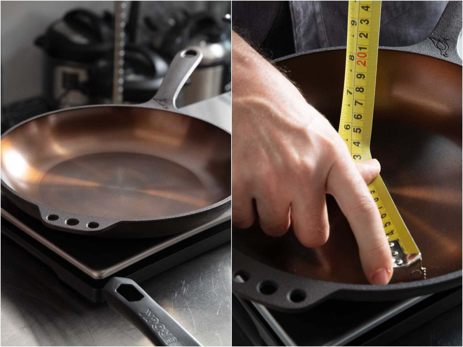 Weighing and measuring cast iron skillets