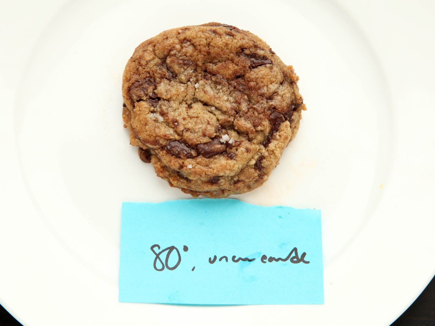 Single chocolate chip cookie on a white plate that has been made with dough heated to 80F.