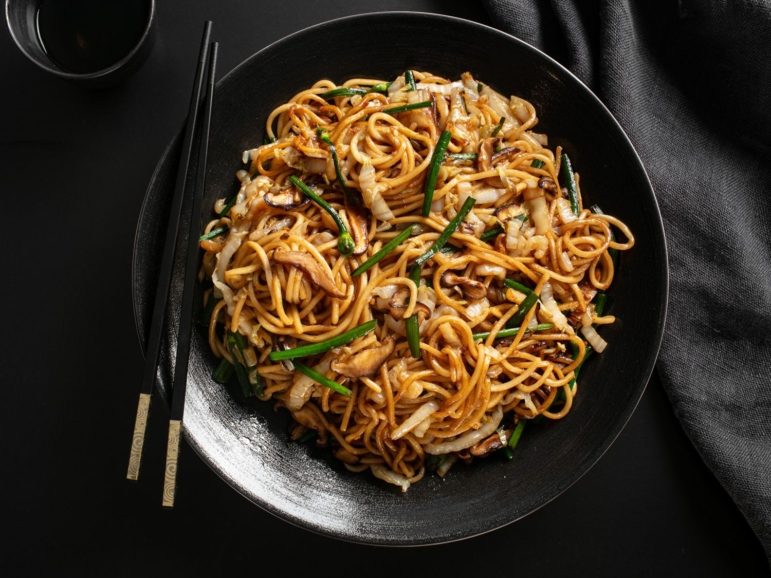 Stir-Fried Lo Mein With Charred Cabbage, Shiitake, and Chives Recipe
