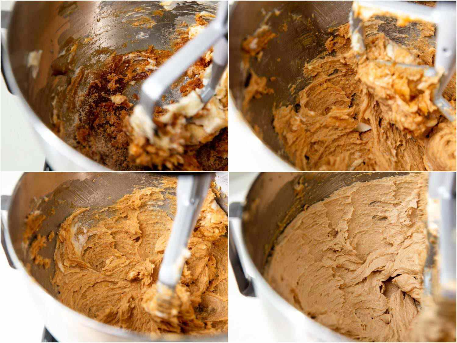 Four stages of the creaming process, from gritty, dense, and dark to smooth, light, and pale.