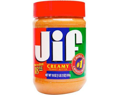 A jar of Jif creamy peanut butter.