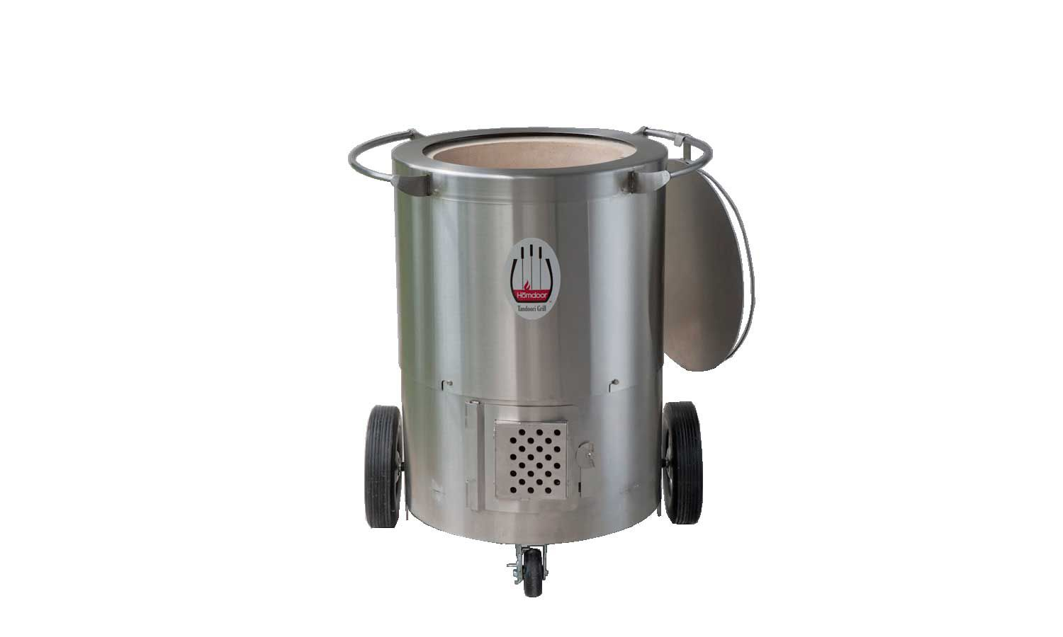 The Homdoor Charcoal Tandoor, a home tandoor-style oven with a stainless steel shell