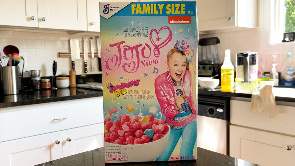 Box of General Mills Jojo Siwa Strawberry Bop Cereal
