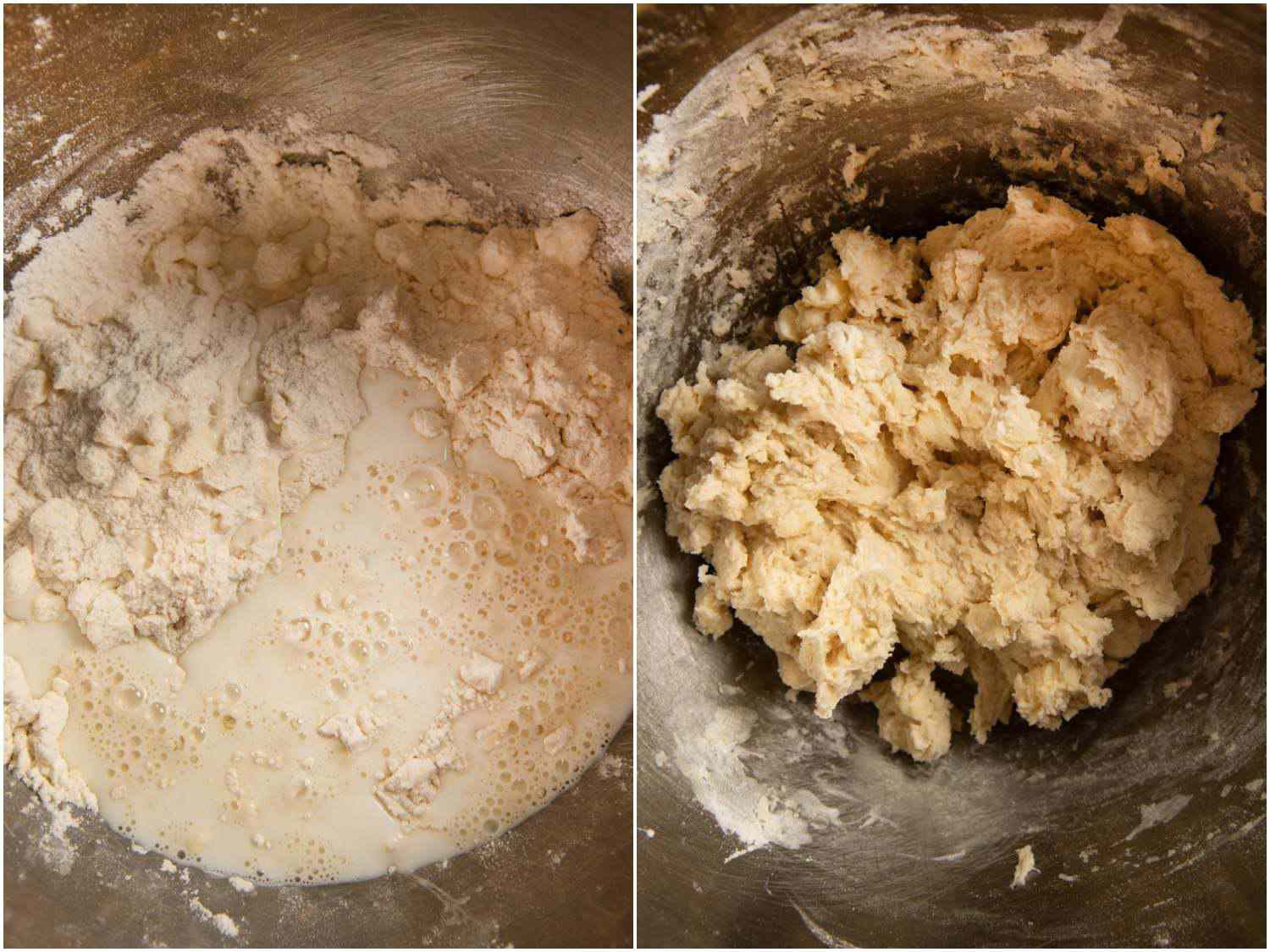 Photo collage showing adding milk to butter-flour mixture and stirring it in.