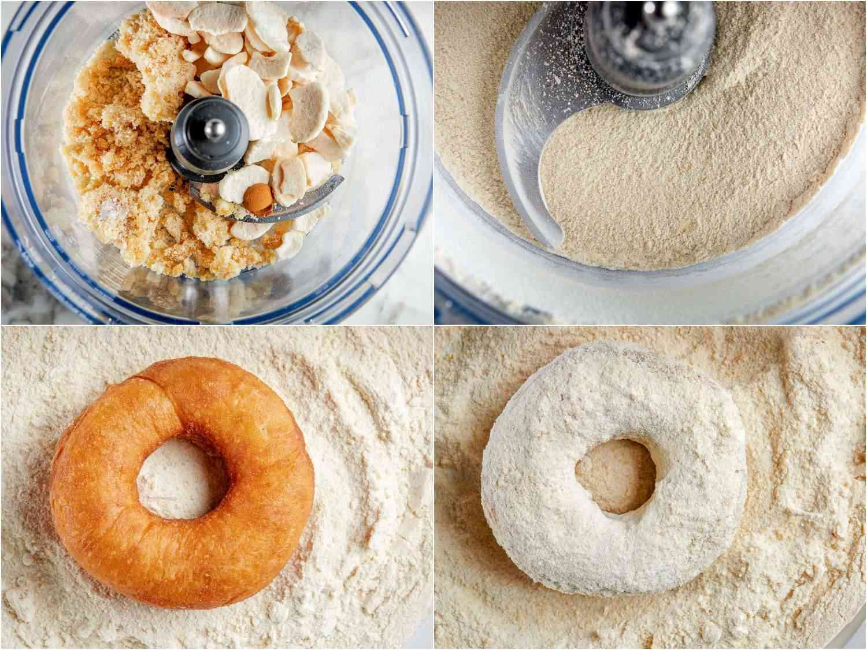 preparing apple cinnamon sugar and coating a fresh doughnut