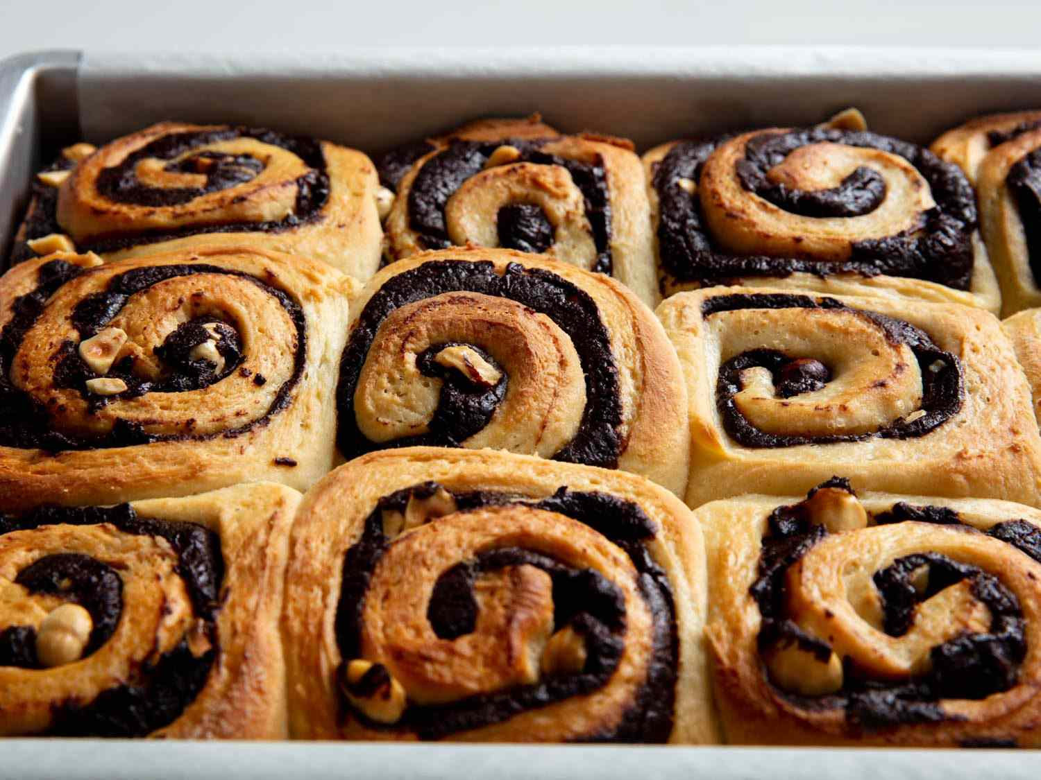 chocolate hazelnut buns fresh from the oven