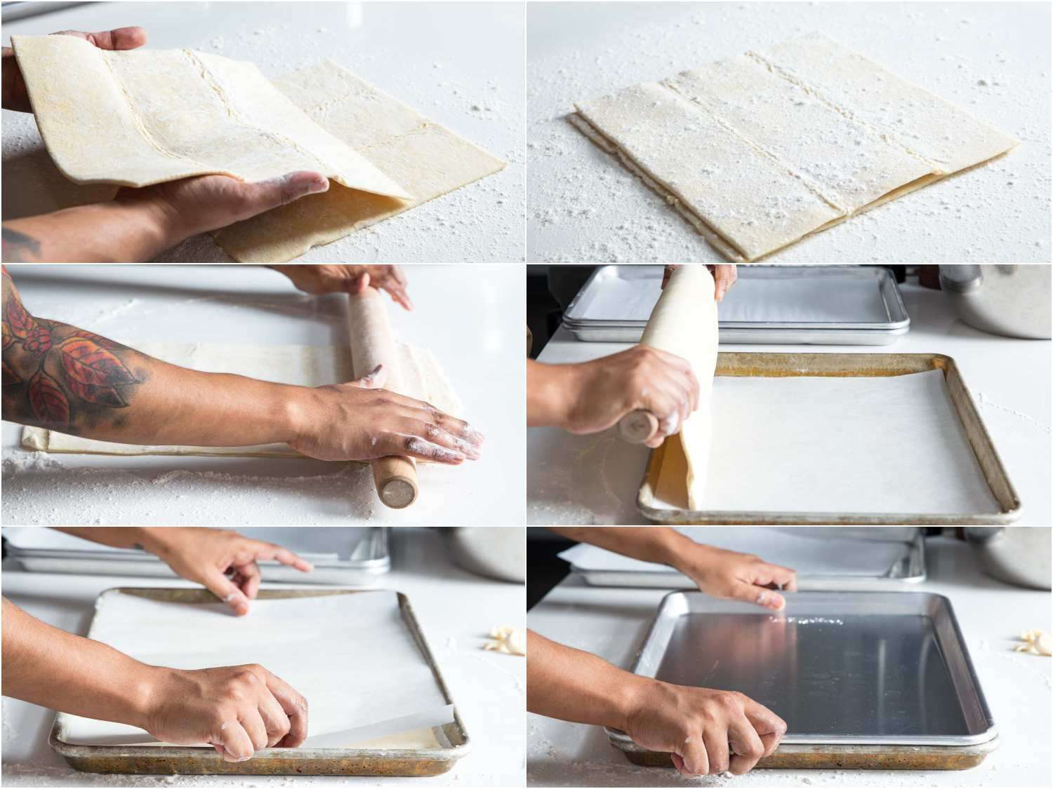 Collage of rolling out puff pastry dough for eggplant tart