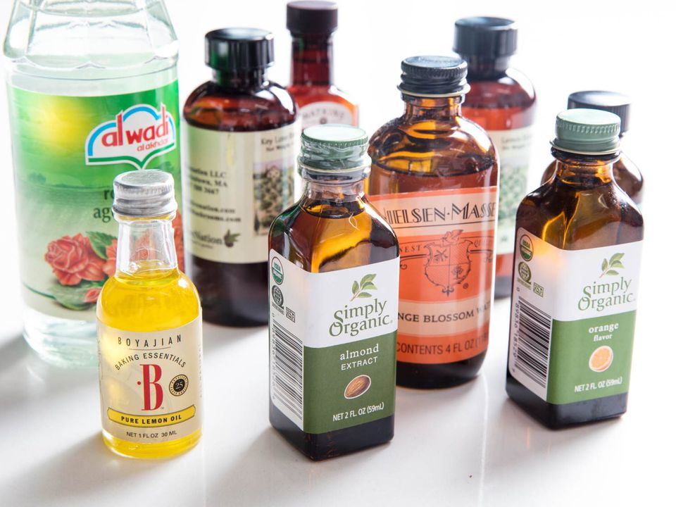 A variety of aromatics, extracts, and flavorings for baking.