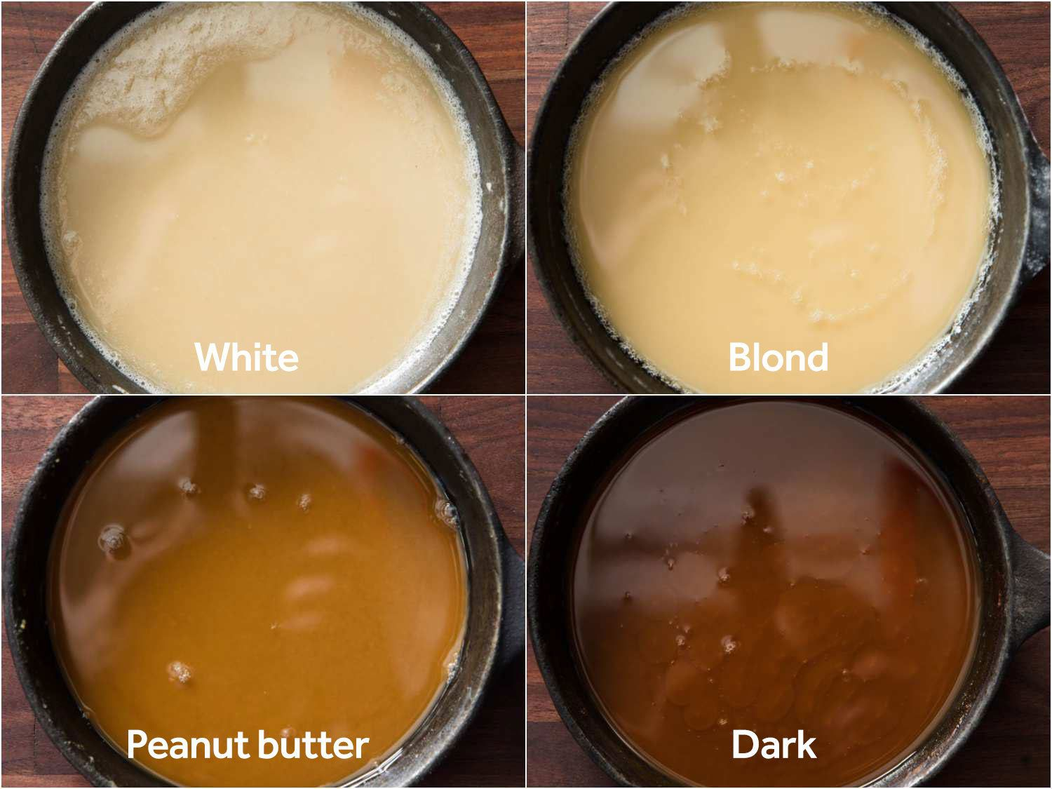 Composite shot of roux cooked to four different levels: white, blond, peanut butter, and dark