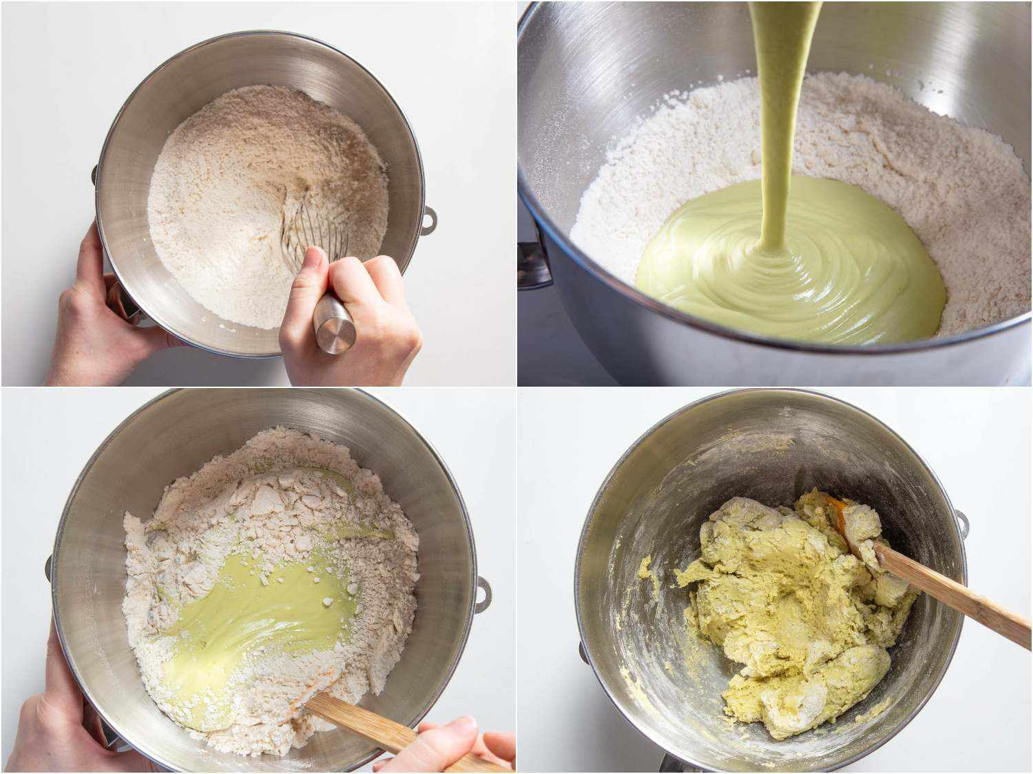 incorporating wet and dry ingredients to form a dry and shaggy dough