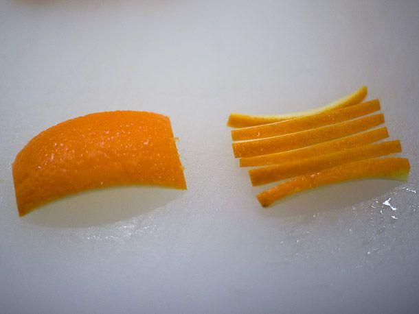 narrow strips of orange peel