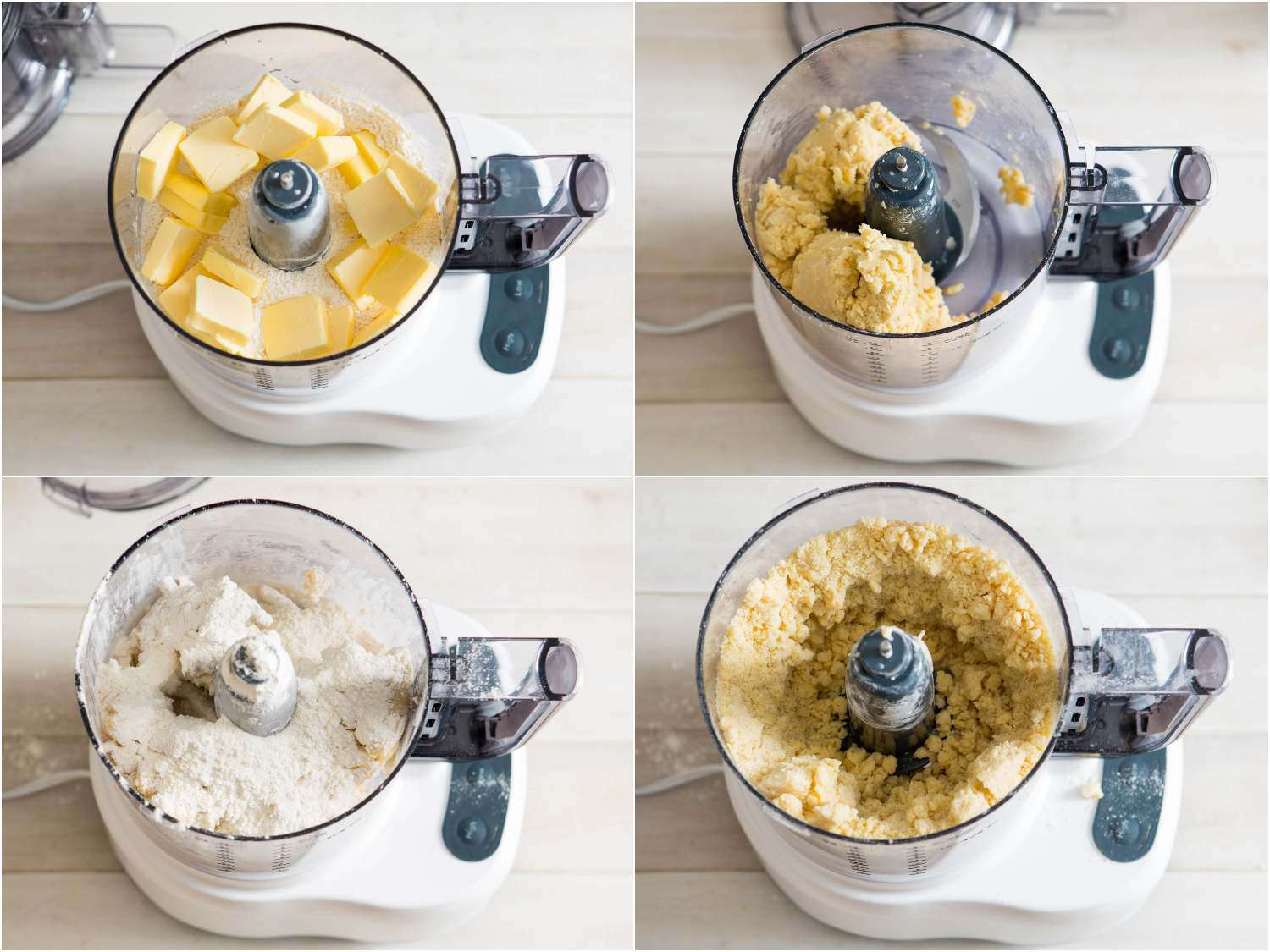 Photo collage showing pulsing butter into flour, and then additional flour into the dough to make easy, all-butter pie dough.