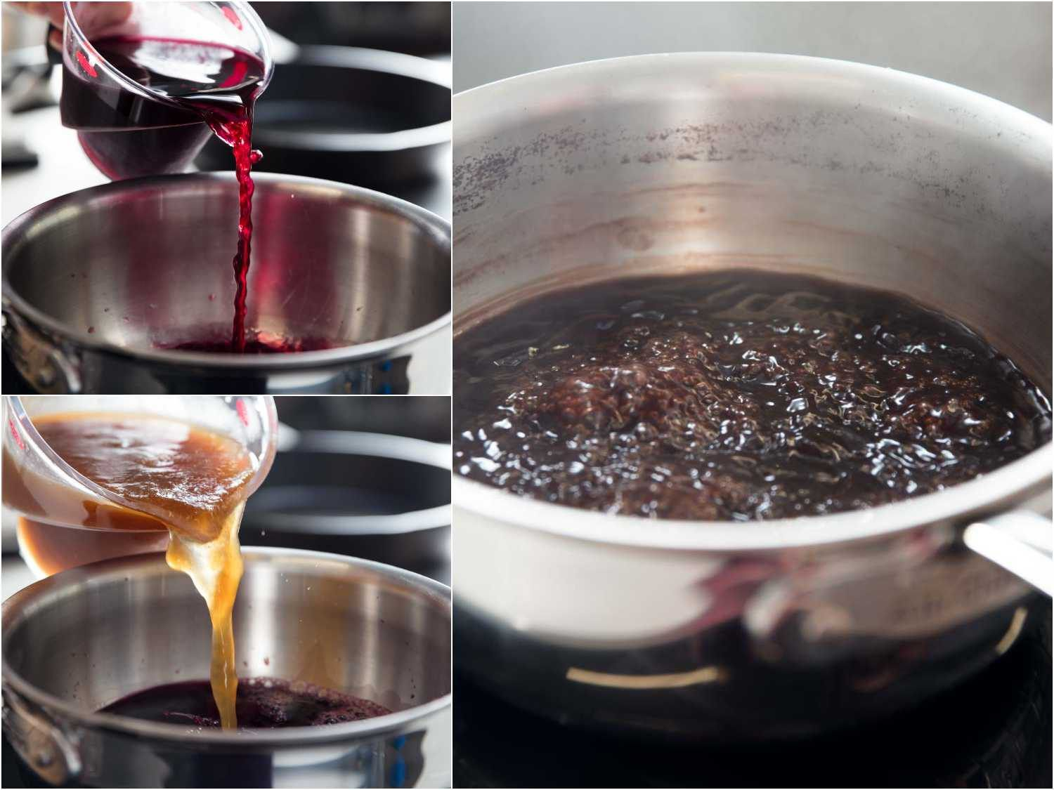 Process shots of red wine and beef reduction for jus.
