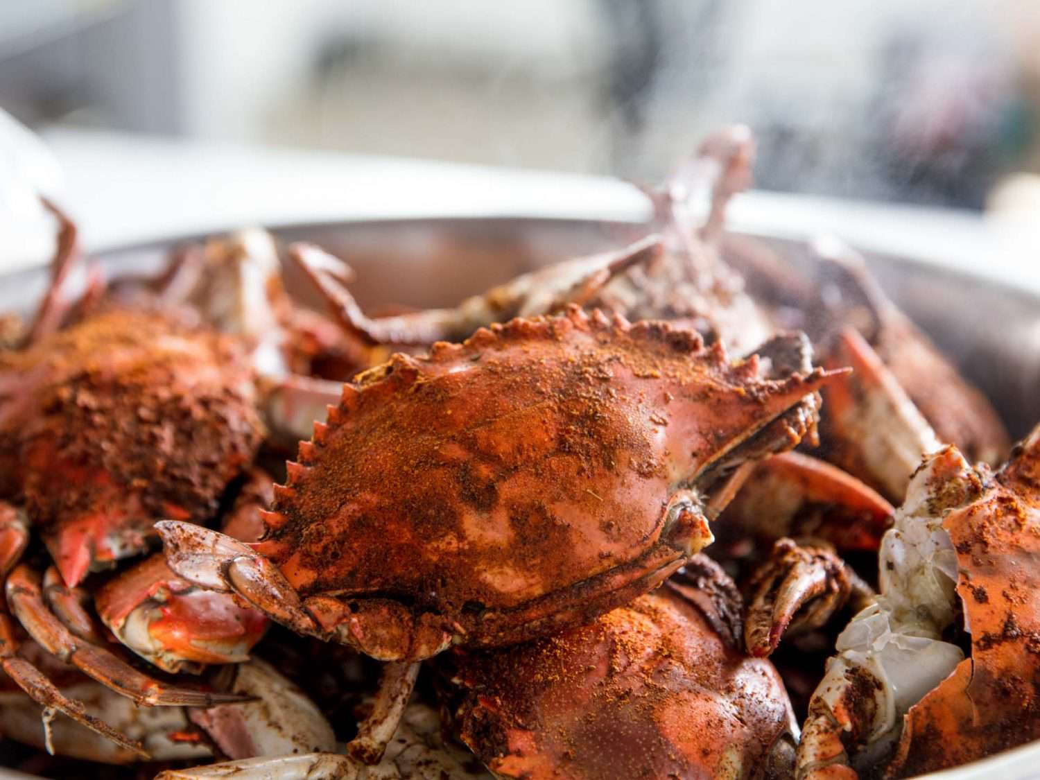 A pile of steamed crabs in a pot, coated in Old Bay