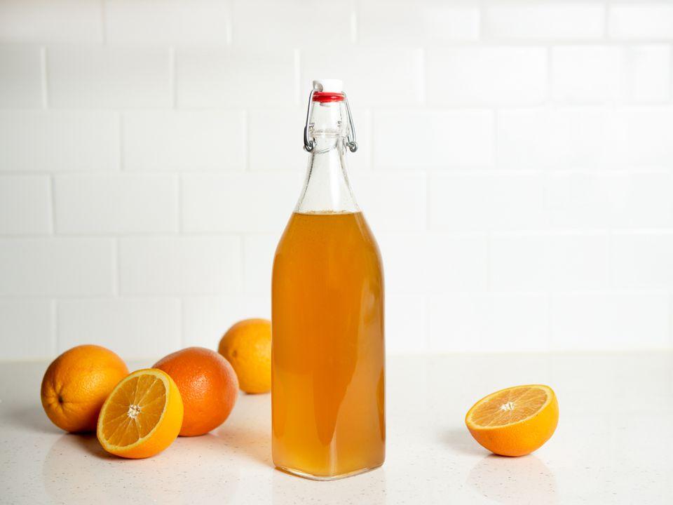 diy orange liqueur in a sealed bottle